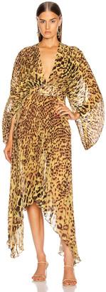 Adriana Degreas Leopard Pleated Midi Dress in Brown   FWRD