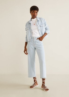 MANGO Striped denim jacket light blue - S - Women