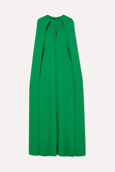 Marchesa Cape-effect Crepe Gown - Emerald