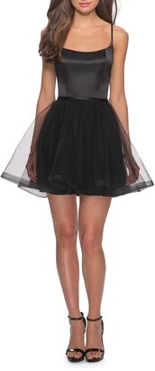 La Femme Satin & Tulle Fit & Flare Dress