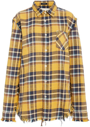 R 13 Distressed Checked Cotton-Flannel Shirt