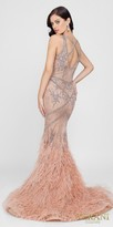 Terani Couture Rhinestone Embellished Cut Out Feather Evening Dress