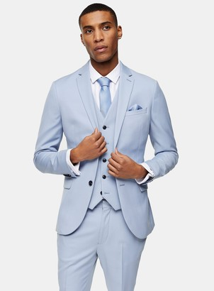 Topman Light Blue Skinny Single Breasted Suit Blazer With Notch Lapel