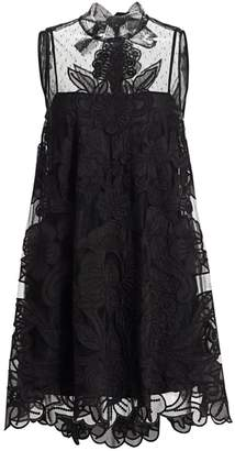 RED Valentino Floral Lace Tulle Mini Dress