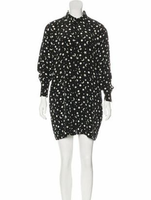 Saint Laurent Silk Printed Mini Dress Black