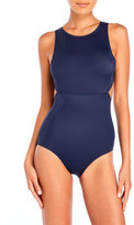 DKNY Street Cast Solids High Neck Cut-Out Maillot One-Piece Swimsuit