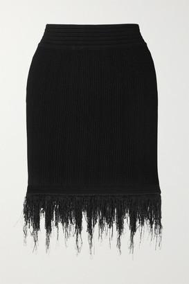 Balmain Fringed Ribbed-knit Mini Skirt - Black