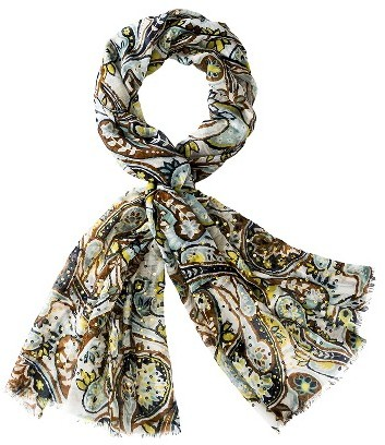 Merona Print Scarf with Gold Sequins - Blue