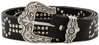 Black & Brown black Lara leather belt