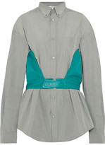 Balenciaga Cotton-blend Poplin And Leather Shirt - Gray