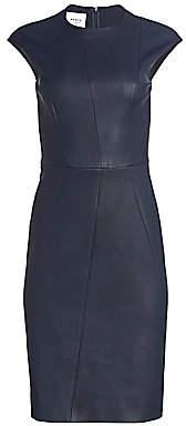 Akris Punto Women's Stretch-Leather Cap-Sleeve Sheath Dress