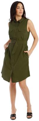Basque Sleeveless Linen Blend Shirt Dress