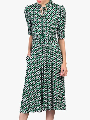 Jolie Moi Geometric Print Tie Collar Dress, Green