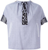 J.W.Anderson striped laced top - women - Cotton/Linen/Flax - 8