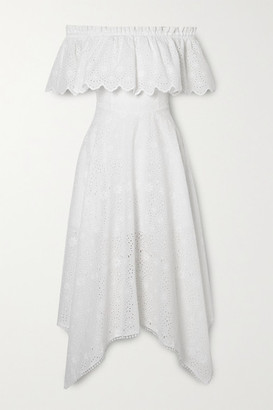 Charo Ruiz Ibiza Khadi Asymmetric Off-the-shoulder Broderie Anglaise Cotton-blend Midi Dress - White