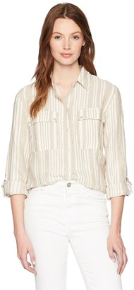 Jones New York Women's Stripe Roll Tab High Low Shirt