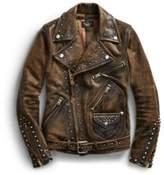 Ralph Lauren Studded Leather Moto Jacket Black 2