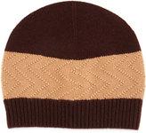 Neiman Marcus Cashmere-Blend Knit Beanie Hat, Brown/Camel