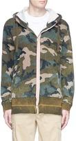 Valentino Selvedge trim camouflage print zip hoodie