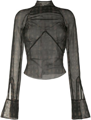 Charlotte Knowles Serpent ruched blouse