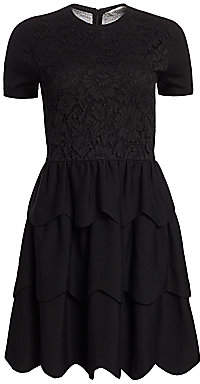 Valentino Women's Lace Tiered Short-Sleeve Wool Dress