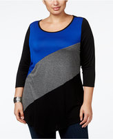 Belldini Plus Size Colorblock Handkerchief-Hem Tunic