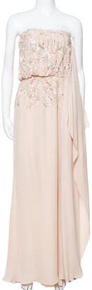 Elie Saab Cream Silk Embellished Draped Strapless Dress S