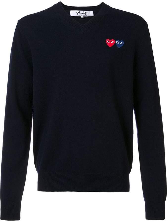 Comme des Garcons brand logo V neck jumper