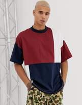 Asos Design DESIGN organic cotton oversized t-shirt patchwork color block in navy