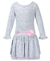 Sweet Heart Rose Girls' 2T-6X Grey Brushed Knit Sequin Dress