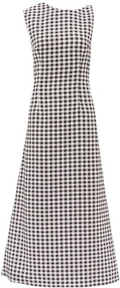 Emilia Wickstead Ceilani Asymmetric Gingham Cloque Maxi Dress - Womens - Black White