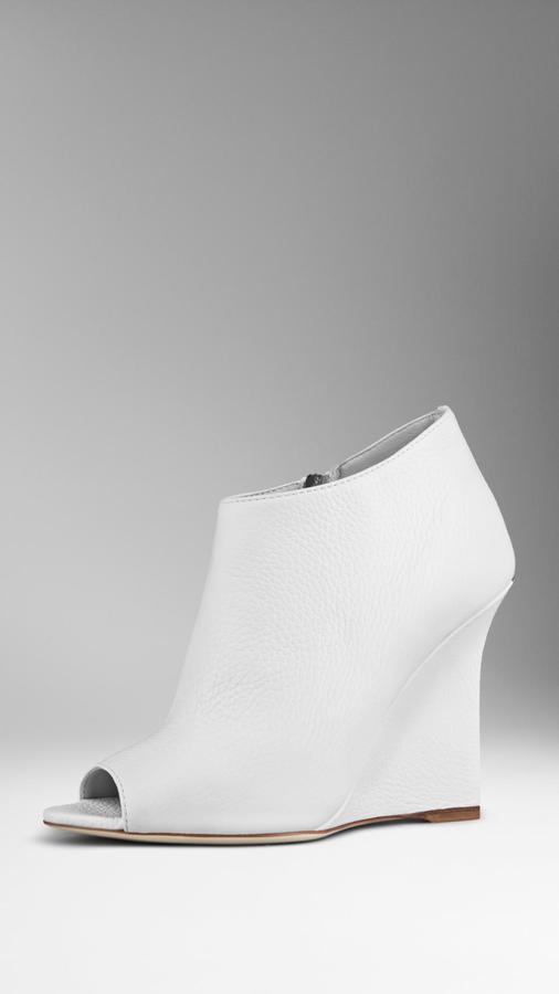Burberry Deerskin Peep-Toe Wedge Ankle Boots