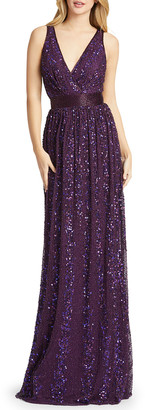 Mac Duggal Sequin Pleated Sheath Gown