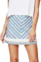GUESS Women's Mid-Rise Embroidered A-Line Miniskirt