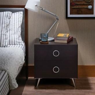 ACME Furniture Ivy Bronx A9A5288CBDAF44C4A8D1C58634E6A3EA Nightstand, One Size, Espresso & Chrome Ivy Bronx