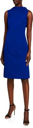 Rickie Freeman For Teri Jon Sleeveless Capelet Crepe Sheath Dress
