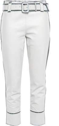 Prada Cropped Zip-detailed Leather Tapered Pants