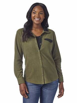 Lee Indigo Women's Long Sleeve Button Front Fleece Shirt with Stand Up Collar