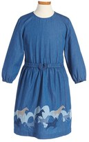 Stella McCartney Toddler Girl's 'Nightsky Skippy' Embroidered Chambray Dress