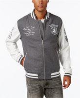Sean John Men's Multi-Patch Wool Blend & Faux Leather Varsity Jacket