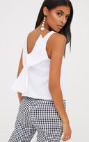 PrettyLittleThing White Bow Back Sleeveless Shirt