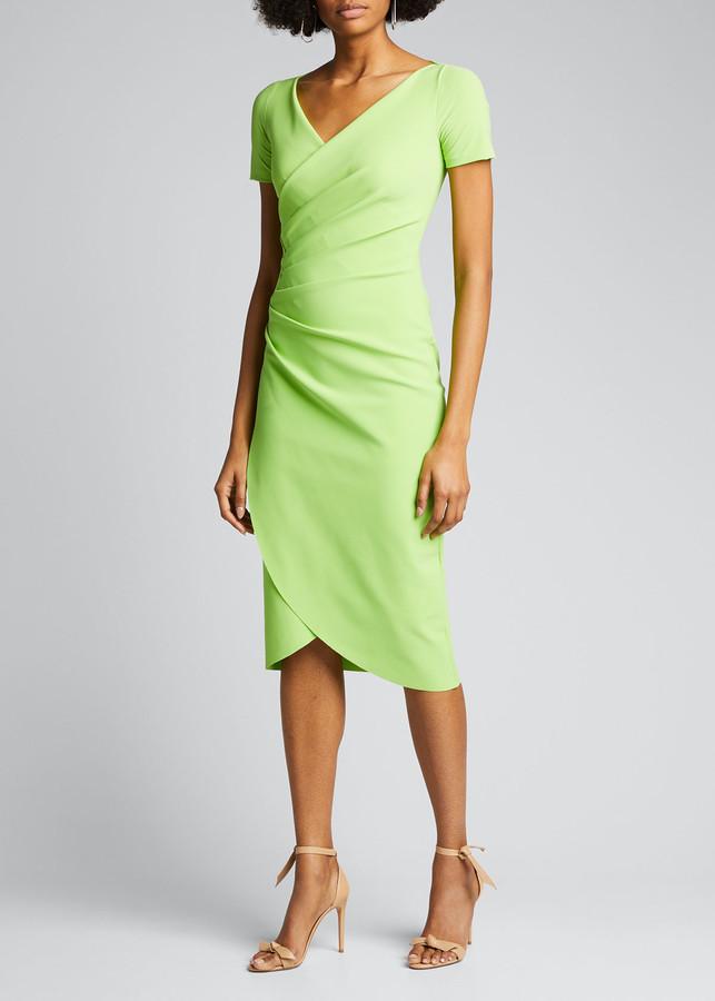 Chiara Boni V-Neck Short-Sleeve Wrap-Front Dress