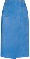 Protagonist Wrap-effect Suede Skirt - Bright blue