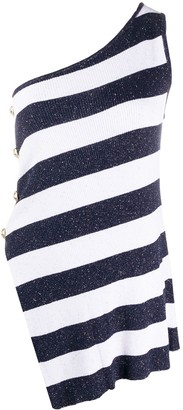 Balmain One Shoulder Striped Top
