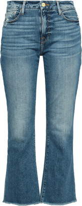 Frame Le Crop Mini Boot Distressed Mid-rise Kick-flare Jeans