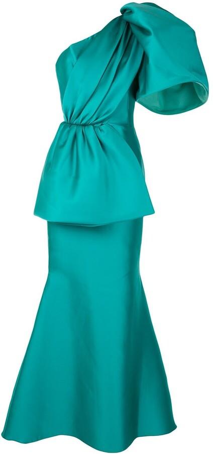 Isabel Sanchis Satin One-Shoulder Fishtail Gown