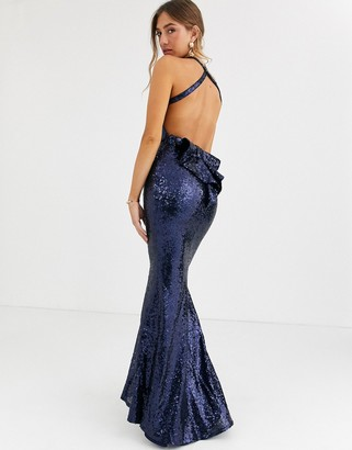 City Goddess bow detail sequin maxi dress-Navy