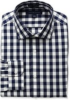 Tommy Hilfiger Men's Non Iron Slim Fit Buffalo Check Spread Collar Dress Shirt