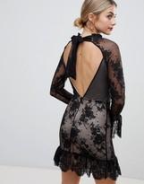 Asos Design High Neck Open Back Lace Mini Dress