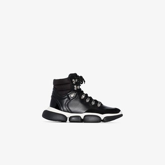 Moncler Black Leather Ankle Boot Sneakers